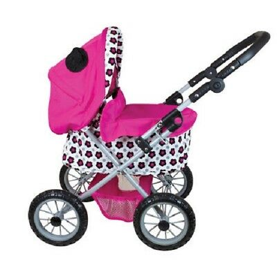 Doll Pram With Adjustable Handle Little Girls Kids Pretend Play