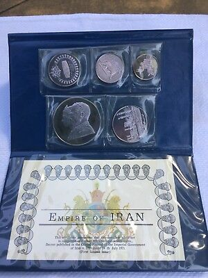 1971 EMPIRE of IRAN 5 pc Deep Cameo PROOF SET .999 Fine Silver COINS  Case & COA