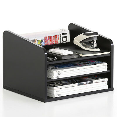 FITUEYES 3 Tiers Wood Desk Organiser File Storage Shelves Black