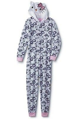 NEW Hello Kitty Pajamas Womens Size MEDIUM LARGE One Piece Union Suit  Hoodie NWT 15012ad1a