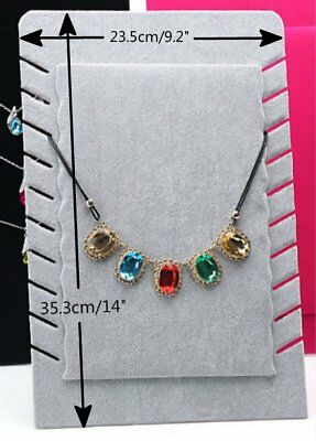 2x New Grey Velvet Pendant Necklace Jewelry Display Retail Shop Easel Stand