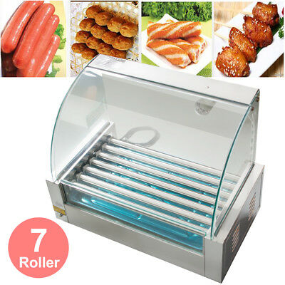 New Commercial 18 Hot Dog Hotdog 7 Roller Grill Cooker Machine W/ Cover Tray Set
