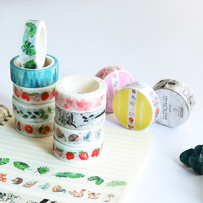 10 Styles Self Adhesive Washi Masking DIY Tape Sticker Notes Diary Decor Craft