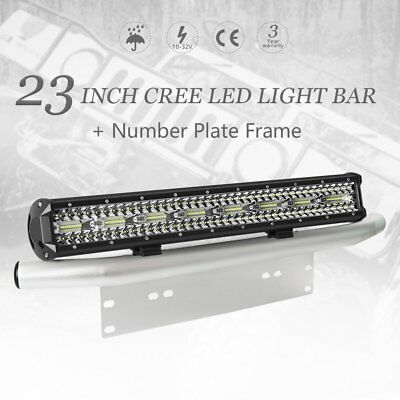 23 inch Tri-row CREE LED Combo Light Bar Number Plate Frame Mount Bracket Silver