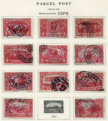 1912-1913 USA.  PARCEL POST.  Part set of 11 USED.
