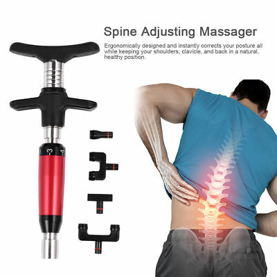 New Manual Chiropractic Tool Spine Adjusting Corrector Massager with 4 Heads BL