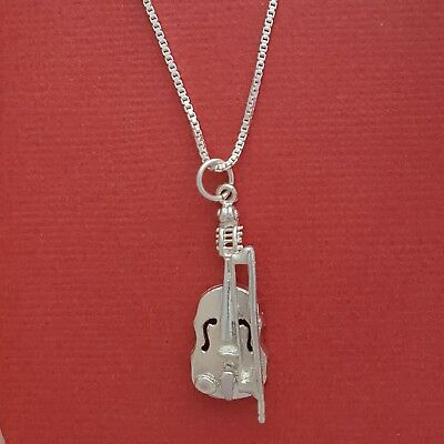 Sterling Silver Violin Necklace New Solid 925 Charm Pendant and 18 inch Chain