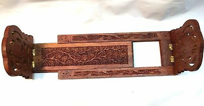 Rosewood Carved Floral Pattern Books & CD Holder Extendable Folding Stand