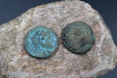 Rare TWO Ancient Tetradrachm Alexandria Roman Egyptian Billon Coins, 276-282 AD