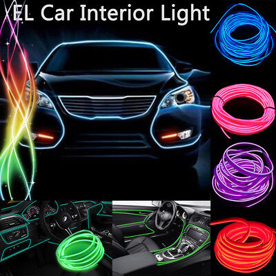 Car Led light Strip EL Wire Fluorescent Neon Cold Rope Tube Auto Interior Lamp