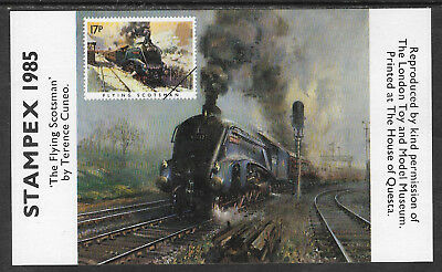 Great Britain Stampex 1985 Exhibition Sheet Flying Scotsman Train Mnh
