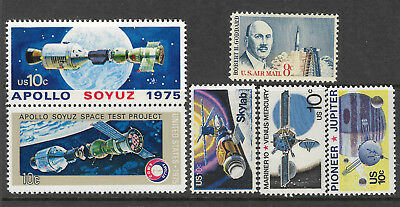 UNITED STATES USA SPACE Small collection of 6 different Stamps MNH