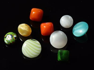 lot (9) Czech antique vtg rare doll micro tiny satin spatter domed glass buttons