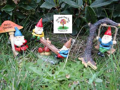 Garden Gnomes gnome on seesaw swing sign figurines decor solar mushroom house