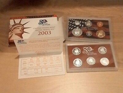 2003-S SILVER PROOF SET United States Mint State Quarters 10 Coins Box & COA