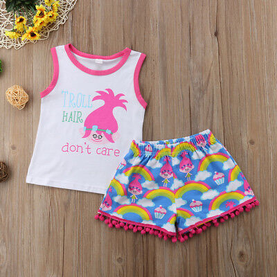 ab631dfe9 USA Kids Baby Girl Sleeveless Outfit Clothes T-shirt Top+Casual Shorts Pants  Set