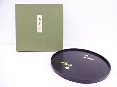91784# Japanese Lacquer Ware / Lacquered Round Tray By Hikobei Nishimura / Plant