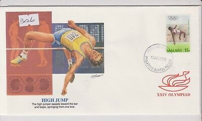 Malawi First Day Cover - XXIV Olympiad, Seoul - High Jump - 1988 (346)(X)