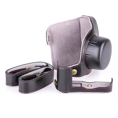 PU leather Camera Full Body Case Cover with Strap For Nikon 1 J5 camera black