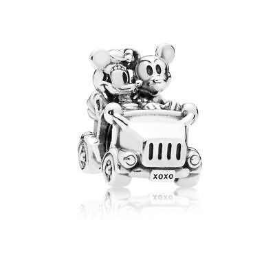 💕 Genuine Sterling Silver S925. CLASSIC Mickey and Minnie Vintage Car Charm 💕