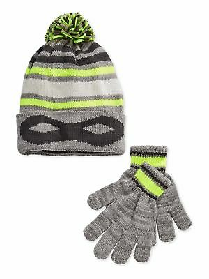 Osh Kosh Little Boys Striped Cuffed Beanie Hat and Gloves Set - Size 4-7
