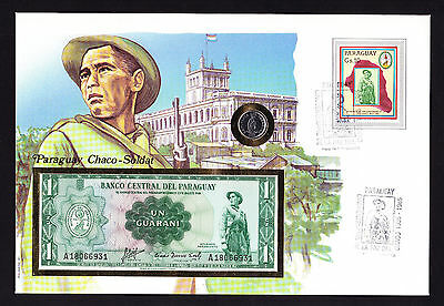Paraguayan Coin & Banknote on 1985 Paraguay FDC stamp cover Chaco Soldat cachet