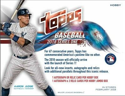 2018 Topps Series 1 Baseball Hobby 36 Pack Box (Factory Sealed) w/ 1 Silver Pack