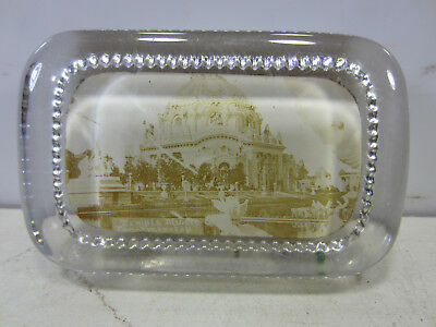 """Vintage """"Temple Music Pan-American Expo"""" Glass Paperweight"""