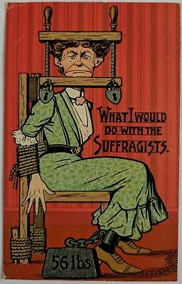 """Suffragette """"what I Would Do With The Suffragists""""  Uk Postcard 1908"""