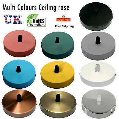 Multi colour vintage industrial Ceiling Rose Light Pendant for fabric cable