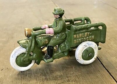 Cast Iron Vintage-Style Green Delivery Motorcycle with Delivery Man Toy