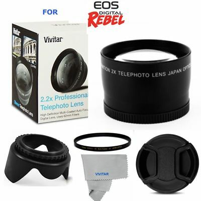 2.2X Telephoto Zoom Lens +Uv Filter + Hood For Canon Eos Rebel T5 T6 Xs T3 T5I