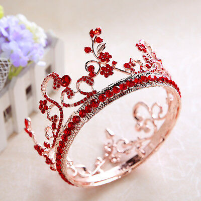 Baroque Bridal Wedding Pageant Jewelry Red Crystal Round Crown Tiara Headbands
