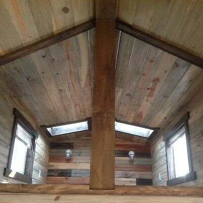 Tiny House on Wheels with Beetle-kill pine throughout and 2 lofts/skylights