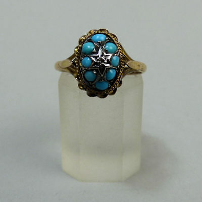 Victorian Antique 15Ct Gold Turquoise & Diamond Ring Size M 1/2 C.1890- 2.5G