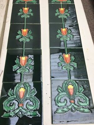 Fire Side Tiles 10 Boxed Art Nouveau Fireplace Tiles Majolica Tubelined Ju18/42