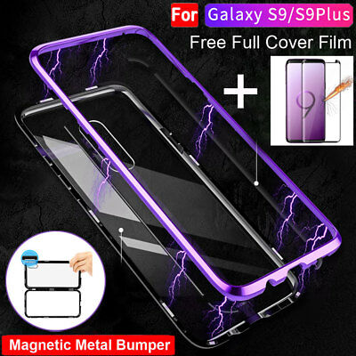 360 Magnetic Metal Bumper+Temper Glass Full Cover Case for SamsungGalaxy S9 Plus