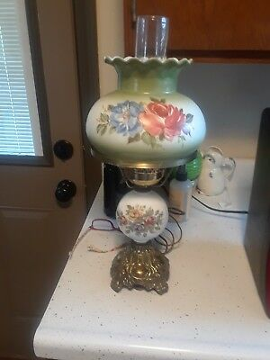 Vintage Antique Milk Glass Floral Globes Gone With The Wind Hurricane Lamp