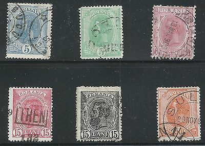 Romania Scott #120-21, 123-25 & 129, Singles 1893-98 FVF Used