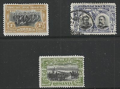Romania Scott #176, 180 & 181A, Singles 1906 FVF MH/Used