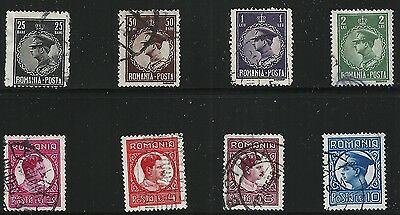 Romania Scott #369-75 & 377, Singles 1930 FVF Used