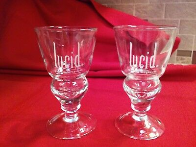 "2 LUCID Absinthe Superieure Glasses 5 1/2"" tall, excellent condition, no chips"