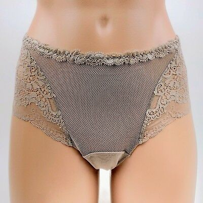 La Perla NWT blue gray sheer mesh tulle /& floral lace mid rise brief panties