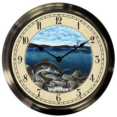 "14"" Walleye Antique Brass Fishing Clock"