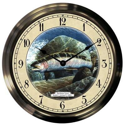 "14"" Rainbow Trout Antique Brass Fishing Clock"