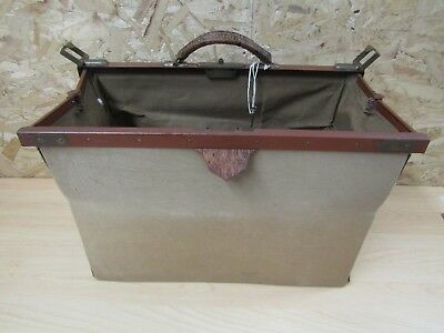 Vintage Gladstone Style Canvas Doctors Bag - Vintage Retro Up Cycling Project