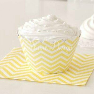 NEW * Yellow Chevron Party Cupcake Wrappers - pack of 12 Partyware Gifts School