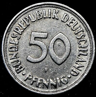 GERMANY: 1950 F 50 Pfennig Coin.