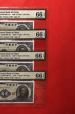 1940 China-4 Notes Of Consecutive Central Bank Of China 2 Chiao,pmg 66 Gem Unc