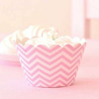NEW * Illume Design Pink Chevron Cupcake Wrappers (12) Partyware Gifts School